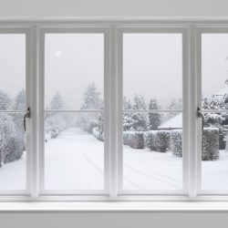 winter morning through white windows